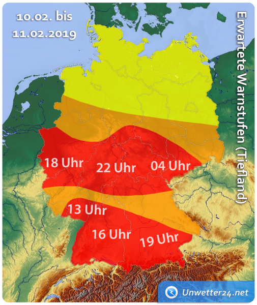 Orkan Uwe am 10. Februar 2019 Update