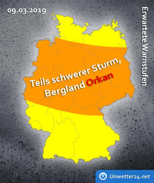 Sturmlage am 9. März 2019