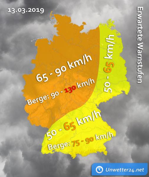 Sturmtief Franz am 13. März 2019