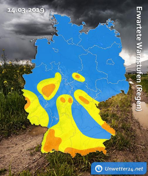 Sturmtief Gebhard am 14. März 2019 Regen