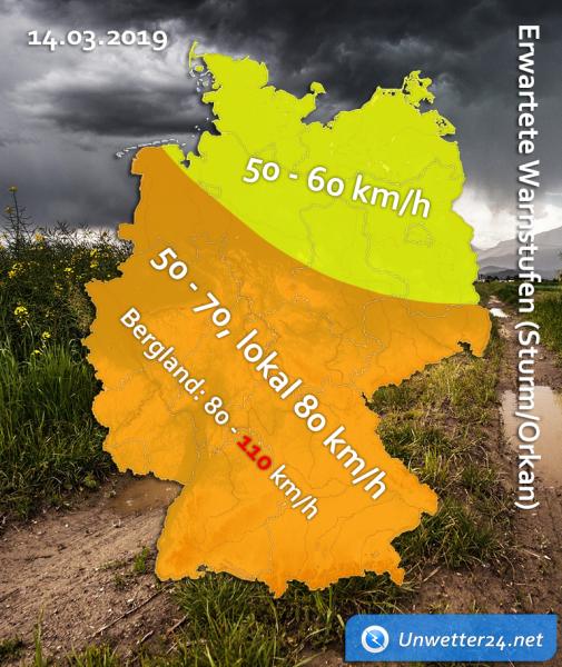 Sturmtief Gebhard am 14. März 2019 Sturm