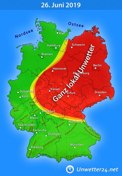 """Unwetter durch Tief """"Otto"""" am 26. Juni 2019"""