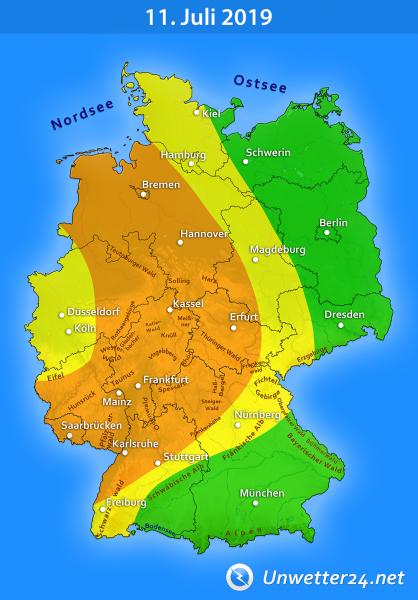 Gewitter durch Tief Quinctilius am 11. Juli 2019