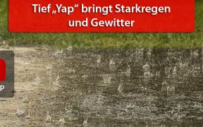 """Unwetter durch Tief """"Yap"""" am 9. August 2019"""