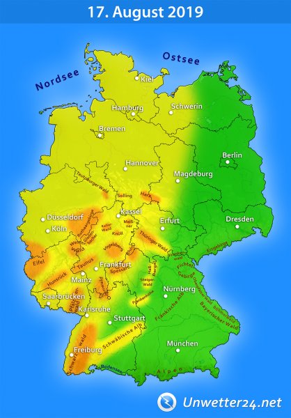 Sturm durch Tief Bernd am 17. August 2019