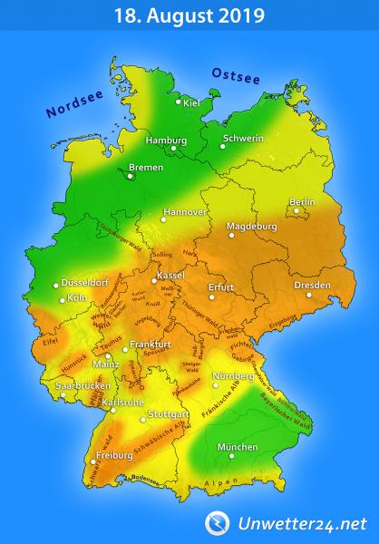 Sturm durch Tief Bernd am 18. August 2019