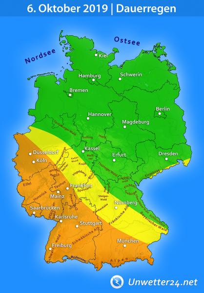 Dauerregen Tief Olaf 2 am 6. Oktober 2019