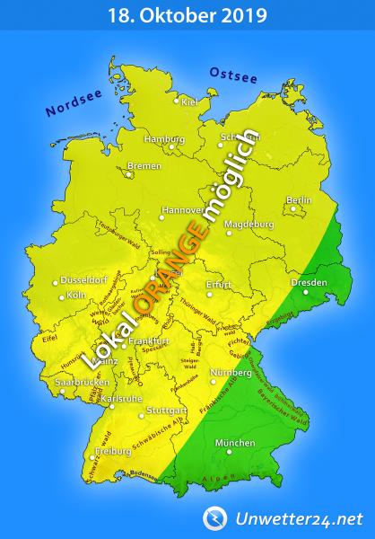 Gewitter durch Tief Thilo am 18. Oktober 2019