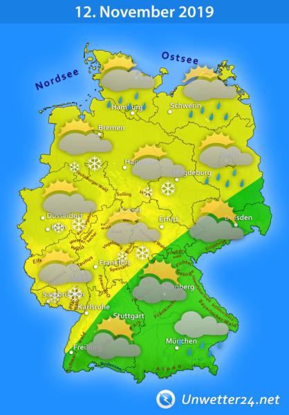 Schnee, Schneeregen und Graupel am 12. November 2019