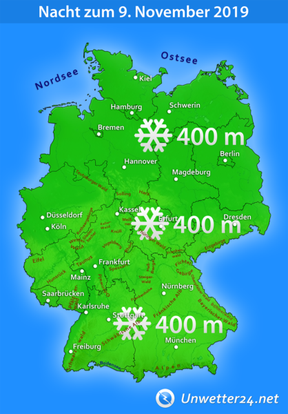 Schneefallgrenze Nacht zum 9. November 2019