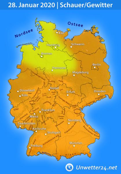 Schauer und Gewitter am 28. Januar 2020