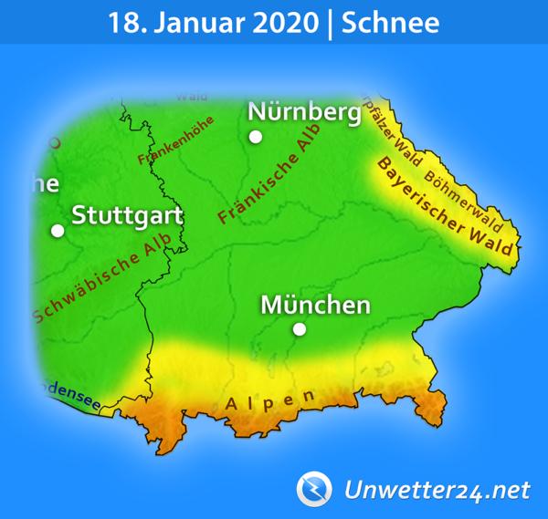 Schnee am 18. Januar 2020