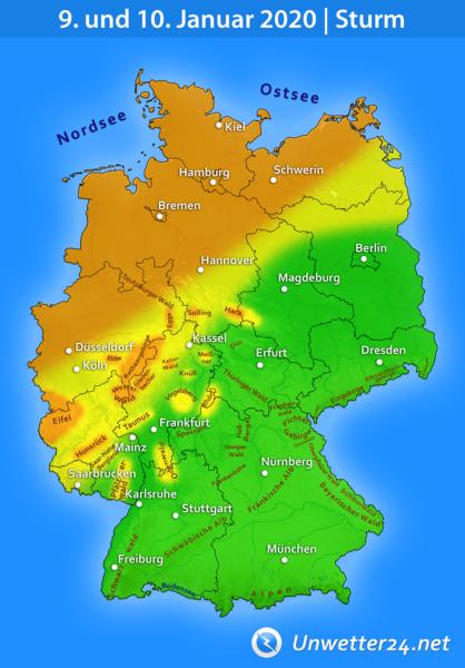 Sturm am 9. und 10. Januar 2020