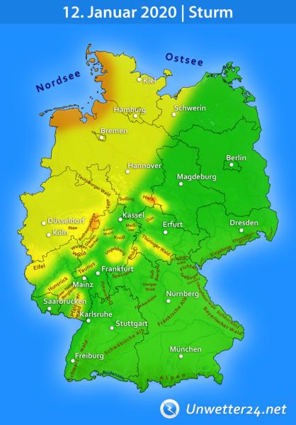 Wind und Sturm am 12. Januar 2020