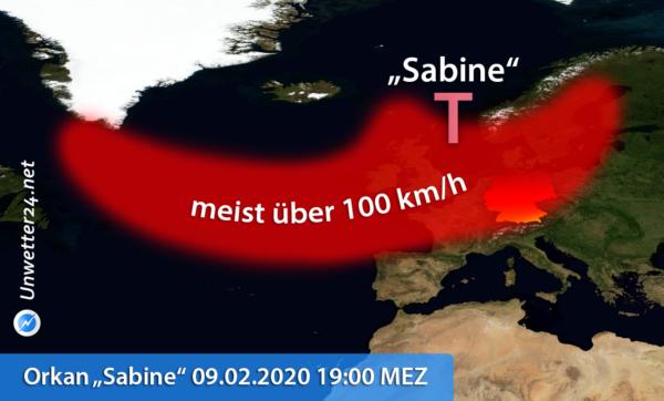 Orkan Sabine 2020 Ausmaße