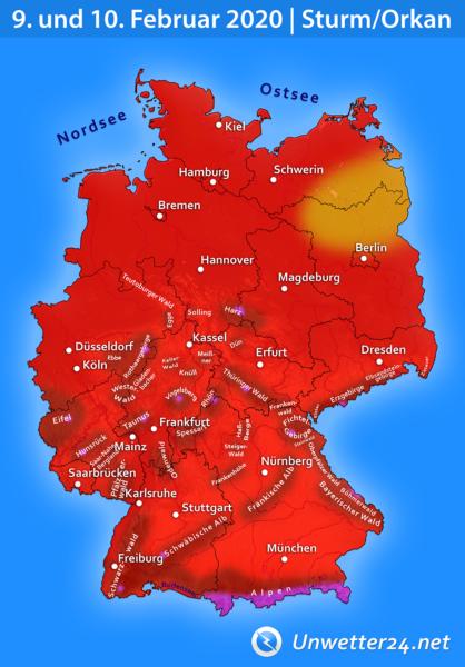 """Orkan """"Sabine"""" 9. und 10. Februar 2020"""