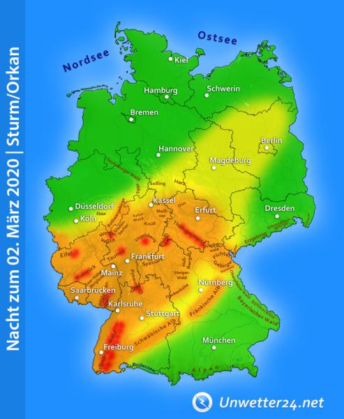Sturm Diana am 1. und 2. März 2020