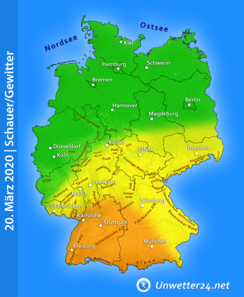 Kräftige Gewitter am 20. März 2020