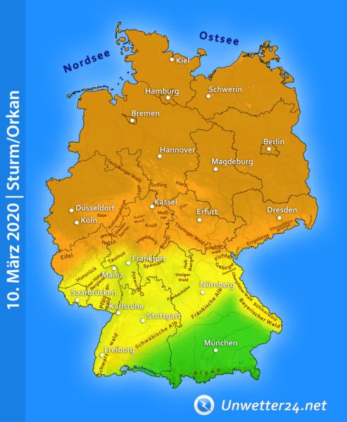 Sturm am 10. März 2020