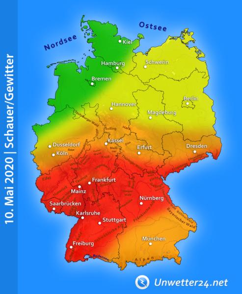 Unwetterartige Gewitter am 10. Mai 2020