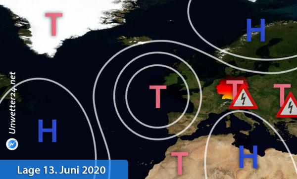 Unwetterlage 13. und 14. Juni 2020 Europa