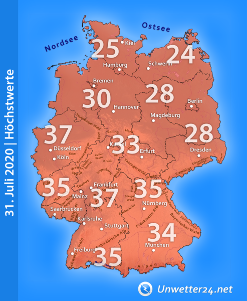 Höchstwerte extreme Hitze 31. Juli 2020