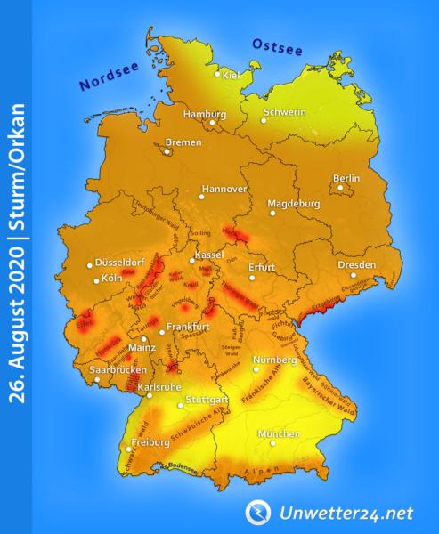 Sturmtief Kirsten Ende August 2020
