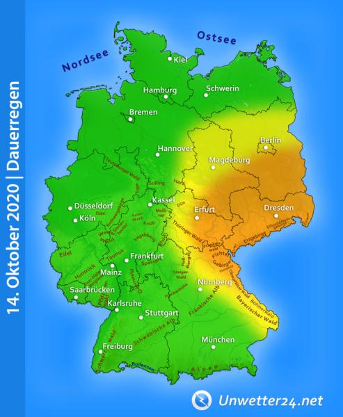 Dauerregen Tief Gisela am 14. Oktober 2020