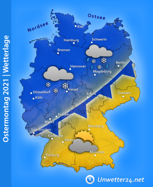 Schnee an Ostermontag 2021