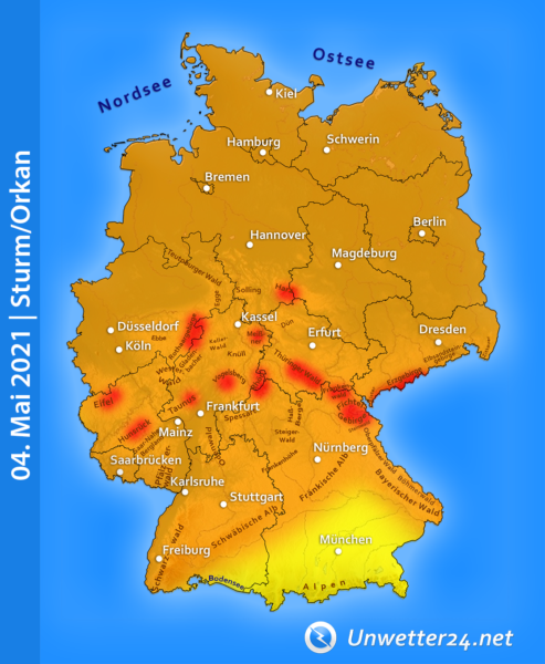 Sturm Eugen am 04. Mai 2021