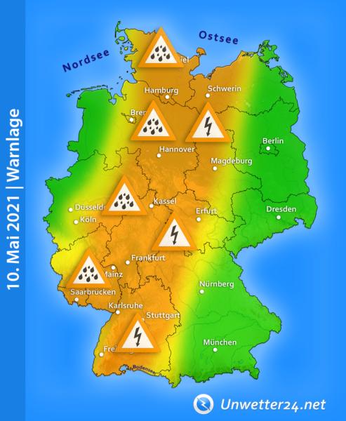 Wetterwarnungen 10. Mai 2021