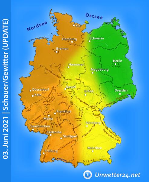 Schauer und Gewitter am 3. Juni 2021