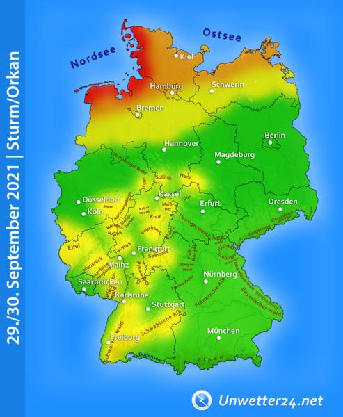 Orkan Nordsee 29. und 30. September 2021