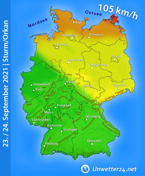 Sturmtief Tim 23. und 24. September 2021
