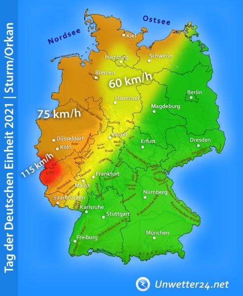 """Sturm """"Benni"""" am Tag der Deutschen Einheit 2021"""